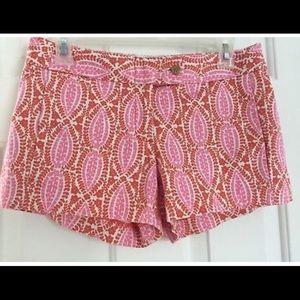 J.Crew shorts pink orange paisley print size 10